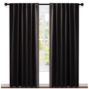 NICETOWN Window Curtains Blackout Drapery Panels - (Toffee Brown Color) 52 inches x 84 Inch, 2 Pieces Set, Solid Blackout Drapes for Theater