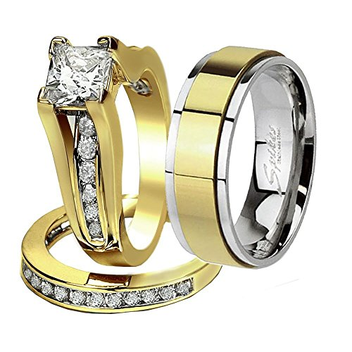 His & Hers 3 Pcs Gold Plated Men's Matching Band Women's Princess Cut Stainless Steel Wedding Ring Set