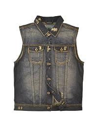 Mens Vintage Distressed Trucker Denim Jean Vest Sizes: M-5X #V3292