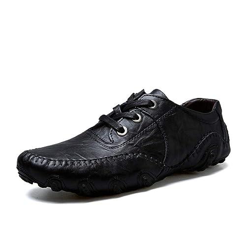 16e2d7fa4ec1 LIEBE721 Men s Causul Business Leather Shoes Slip On Fashion Flat Walking  Durable Breathable Peas Shoes