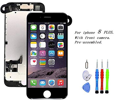 Premium Screen Replacement Compatible with iPhone 8 Plus 5.5 inch Full Assembly - LCD 3D Touch Display digitizer with Front Camera, Ear Speaker and Sensors, Compatible with All iPhone 8 Plus(Black)