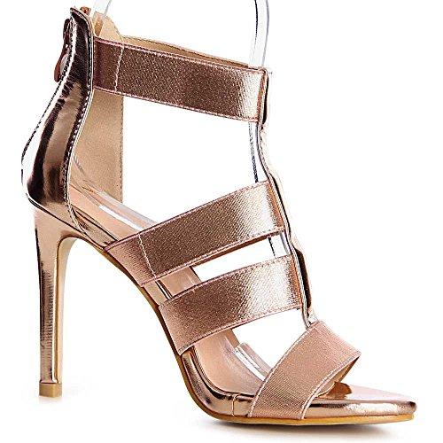 topschuhe24 1159 Damen Sandalen Sandaletten Pumps Riemchen Gold Matt