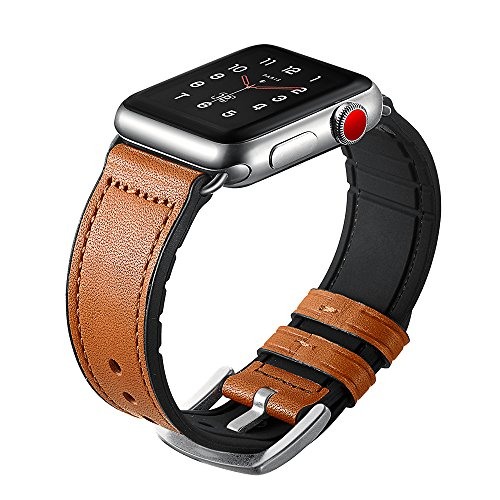 Sweatproof Hybrid Leather Sports Watch Band Vintage Replacement Bands for Apple Watch iwatch Series 123 Dark Brown Replacement Straps with Sliver Stainless Steel Buckle Clasp (42mm, Brown) by WTHSTRAP (Image #1)