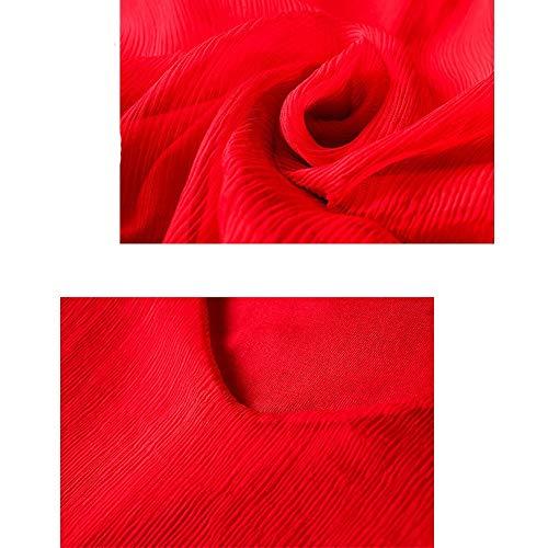 Della Boemia Estivi Principessa Vestito Neck Rosso Beachwear Spiaggia Donna Da Abiti Solido V Di Seta Abito S0qRv6