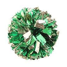 2 Of Metallic Foil & Plastic Ring Pom Poms Cheerleading Poms GREEN+SILVER