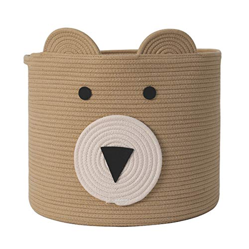 Bear Basket, Animal Basket, Large Cotton Rope Basket, Large Storage Basket, Woven Laundry Hamper, Toy Storage Bin, for Kids Toys Clothes in Bedroom, Baby Nursery, Beige 15