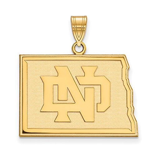 NCAA 10k Yellow Gold North Dakota Large Pendant by LogoArt