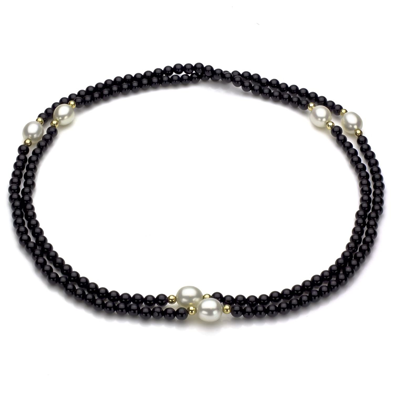 """14k Yellow Gold 8-8.5mm White Freshwater Cultured Pearl 3-4mm Simulated Onyx Endless Necklace, 30"""""""