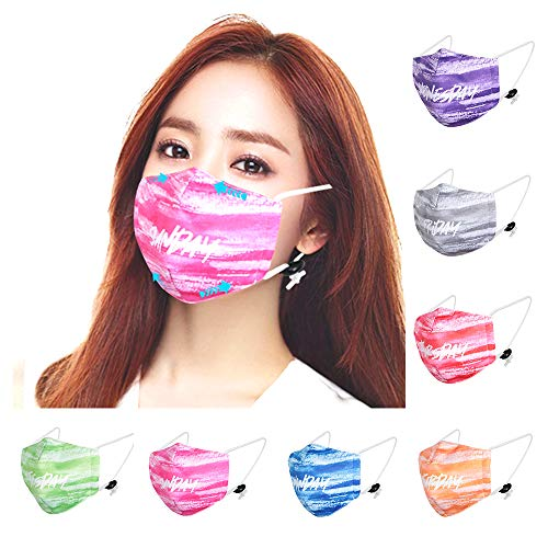 50pcs Disposable Másk 3 Layer Face Cover with Safety Certification Instructions Animal Pattern Face Respirator for Kids Adults (7Pcs+50Filter, Multicolor)