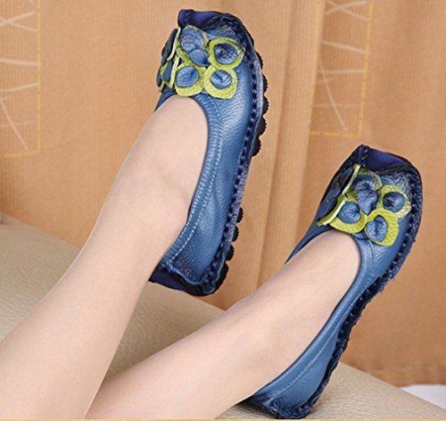 Soojun Dames Rundleer Loafers Platte Schoenen Slip-ons Stijl 2 Blauw