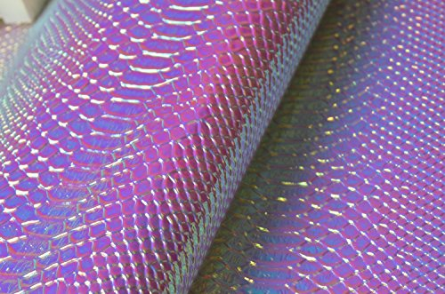 Embossed Shiny Snake - Wento Light Blue Snake Skin Embossed Holographic Laser Leather Fabric,shiny Snake Skin Laser Leather Fabric for Bags,wallets.wide 54'' Sold By Half Yard