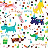"""Barkday Dog Birthday Party Gift Wrap Flat Sheet 24"""" X 6' - Holiday Gift Wrapping Paper: more info"""