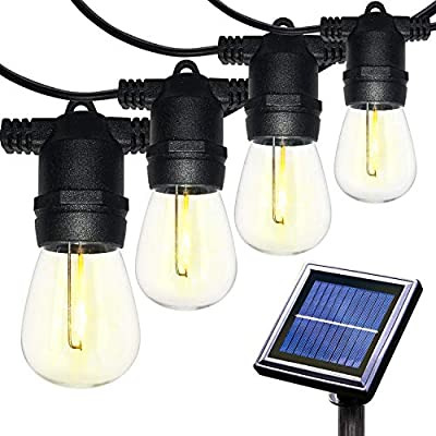 Amico Waterproof LED Outdoor Solar String Lights, Vintage Edison Bulbs Heavy Duty Patio Market Café Lights, Create Bistro Ambience in Your Yard