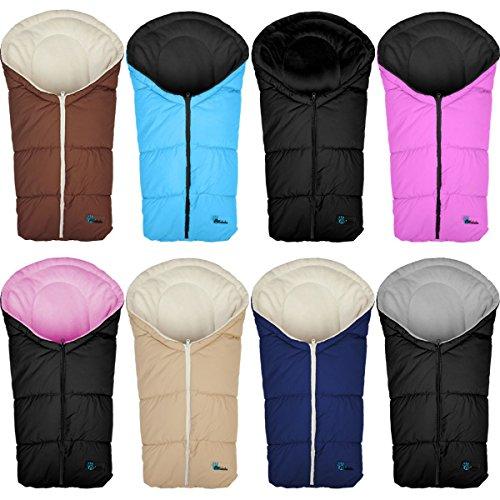 Winterfußsack / Fußsack für Babyschale / Autobabyschale / Baby Autositz / Kinderwagenschale (Gruppe 0+) (Pink/Schwarz)