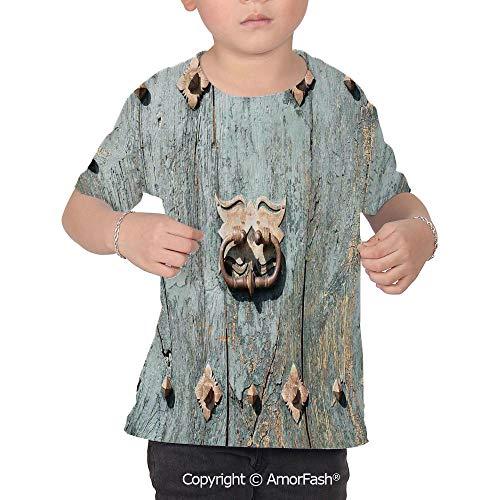 PUTIEN Rustic Children's Summer Casual T Shirt Dresses Short Sleeve,European Cathedral