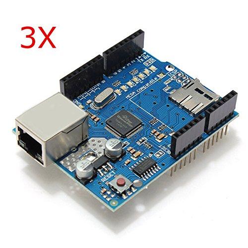 BephaMart 3Pcs Ethernet Shield Module W5100 Micro SD Card Slot For Arduino