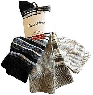 Calvin Klein Men's Patterned Dress Socks Pack of 4 Black