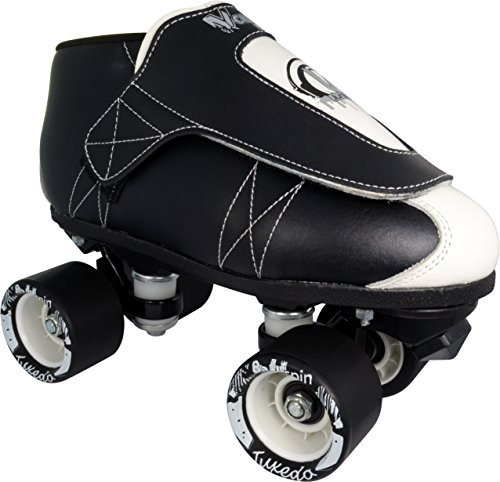 Mens Jam Roller Skates (VNLA The Tuxedo Jam Skates | Quad Roller Skates from Vanilla - Indoor speed skates - Leather - for Tricks and Rhythm skating (Black and White))