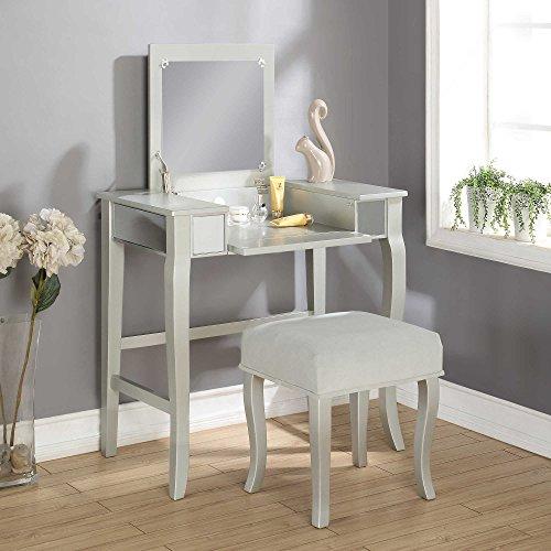 Linon Harper Vanity Set Including Mirror And Stool Silver: Amazon.com: Linon Home Harper Vanity Set In Silver Vanity