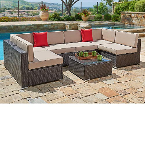 SUNCROWN Outdoor Patio Furniture 7-Piece Wicker Sofa Set, Washable Seat Cushions with YKK Zippers and Modern Glass Coffee Table, Waterproof Cover and clips, Brown (Resin Patio Wicker Furniture Clearance)