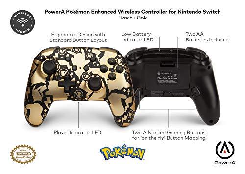 PowerA Pokemon Enhanced Wireless Controller for Nintendo Switch - Pikachu Gold (Only at Amazon.Com)