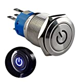 """Ulincos Latching Pushbutton Switch U19C1 1NO1NC SPDT ON/OFF Silver Stainless Steel with Blue LED Suitable for 19mm 3/4"""" Mounting Hole (Blue)"""