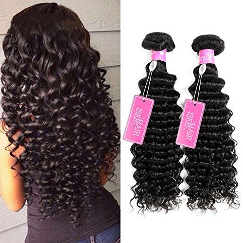 ISEE Hair 8A Grade Brazilian Deep Wave Virgin Hair Brazilian Curly Human Hair Weave 3 Bundles Unprocessed Natural Human Hair Extensions…