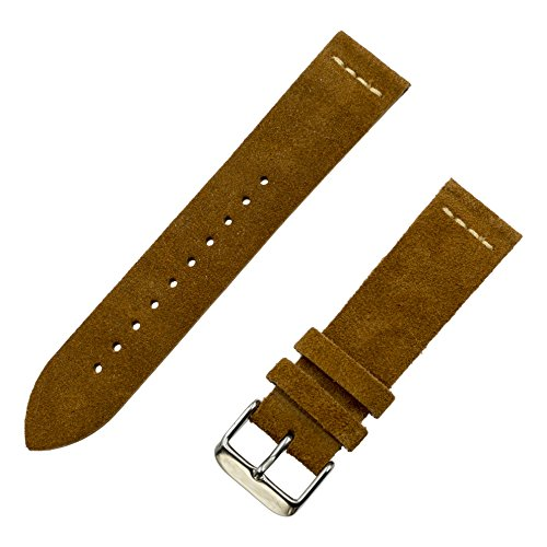 Strap 18mm Watch Leather - Benchmark Straps 18mm Suede Watchband in Tobacco (Light Brown)
