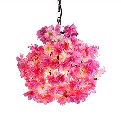 FF Chandelier Wrought Iron Chandelier Simulation Flower Chandelier Simple Modern Warm Romantic Chandelier (Color : Pink, Size : 303040CM) ()