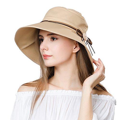 Fancet Packable Sun Bucket Summer Hat Women Beach Safari Hiking Sun Protection Bonnie Gardening SPF Khaki