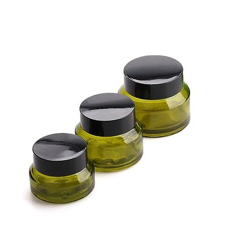 Tarro vac/ío para Maquillaje Crema 15g Vidrio Wilotick Recipiente de Cristal Verde de 15 g//30 g//50 g para cosm/éticos Labios contenedor de Almacenamiento para envasar Viales b/álsamo