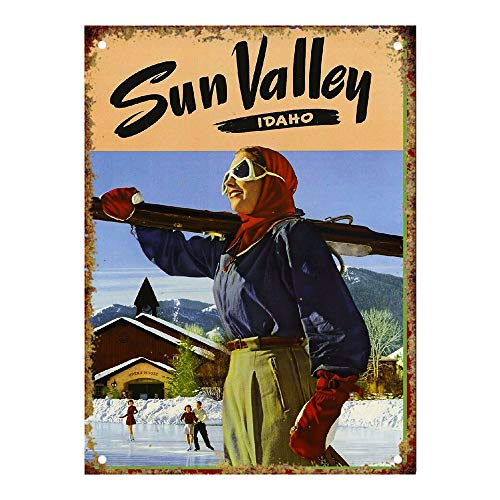 (Ski Sun Valley Tin Wall Signs Retro Iron Painting Metal Poster Warning Plaque Art Decor for Garage Home Garden Store Bar Café)