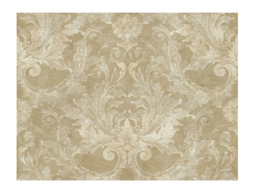 York Wallcoverings GL4627 Brandywine Aida Damask Wallpaper, Antique Gold/Pale Gray - Classic Acanthus Leaves Wallpaper