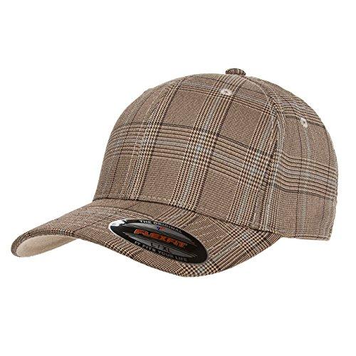 - 2040USA Flexfit Premium Original Glen Check Plaid Baseball Fitted Cap-6196 (Brown/Khaki-L/XL)