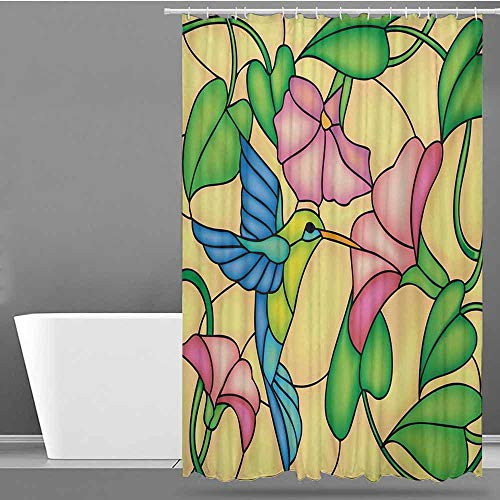 - Tim1Beve Funny Shower Curtain,Hummingbird Stained Glass Style Bird and Hibiscus Tropical Flora and Fauna Illustration,Metal Build,W94x72L,Multicolor