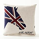 A.B Crew Creative British Style 2 in 1 Cotton Linen Pillow Quilt Blanket Lumbar Supports Throw Pillow Back Cushion(Horse)