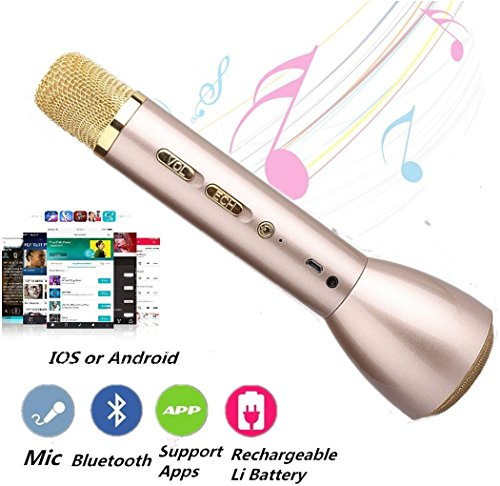 Wireless Karaoke Microphone,Portable Cellphone Karaoke Player Built-in Bluetooth Speaker for Music Playing and Singing Anytime(Golden) (Karaoke Cd All About The Bass)