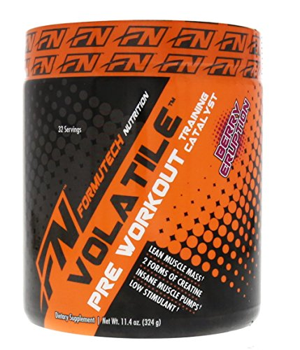 Formutech Nutrition Volatile Pre Workout Powder, 2 Forms of Creatine for Huge Muscle Pumps and Lean Muscle Mass, Low Stimulant Formula, Berry Eruption, 32 Serving For Sale