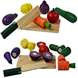 Cutting Fruit Vegetable Pretend Play Children Kid Educational Toy - Wooden Food Toys Set by NimNik