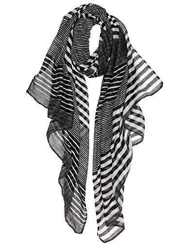 Black White Scarf (Women Lightweight Fashion Spring Scarves Shawl Wraps (black-white))