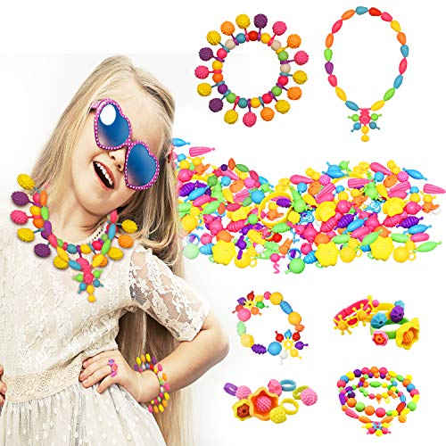 Creative Toys for 5-10 Year Old Girls, Dmazing Pop Beads Arts And Crafts for Girls Kids Toys for Girls Age 3-8 Birthday Gifts for Girls Age 3-10 300 pcs ()