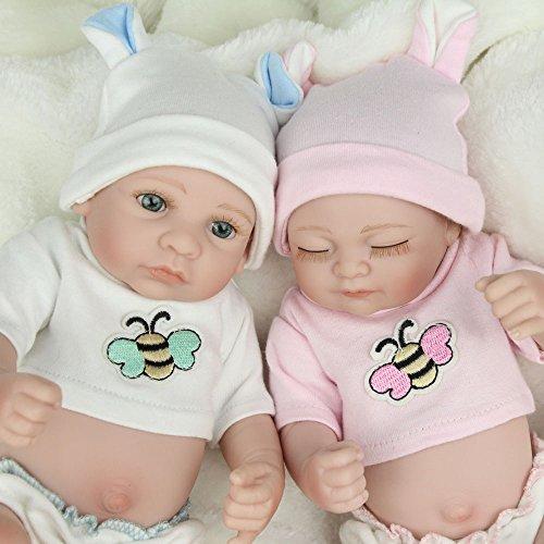 (Kaydora 10 Inch Reborn Baby Doll Full Body Vinyl Boy and Girl Twins Washable Bathe Partner Handmade Lifelike Doll)