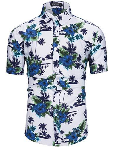 TUNEVUSE Hawaiian Tropic Cotton Mens Hawaiian Shirt Casual Button-Down Short Sleeve Beach Aloha Shirts