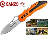 GANZO Ergonomic Handle Stainless Steel Liner Lock Folding Tactical Survival Knife Blade with Clip, Pouch