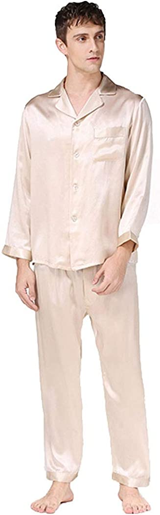 Men's Silk Sleepwear Pajamas,Long-Sleeve Shirt & Long Pants,100% Silk(Main),5 Colors,真丝睡衣