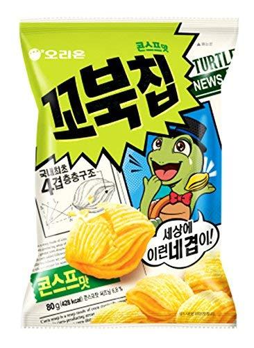 Korean Orion New Four Layers Turtle Chip Corn Soup Flavor (2 Pack) (Corn Chips Korean)