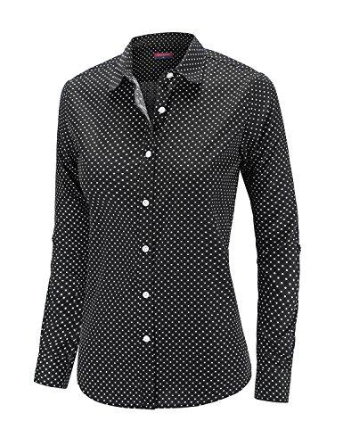 Dioufond Women Polka Dot Shirt Autumn Long Sleeve Casual Button Down Cotton Shirts