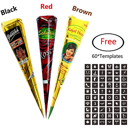 3Pcs Temporary India Paste Cone Tattoo Set Temporary Tattoo Body Art and Painting Bundle Natural Organic Fresh Authentic Ink Paste with 60Pcs Free Stencil Designs by MANGOIT