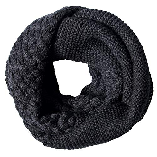 YSense Womens Winter Warm Ribbed Knit Infinity Scarf Fashion Thick Circle Loop Scarves (B-Black)