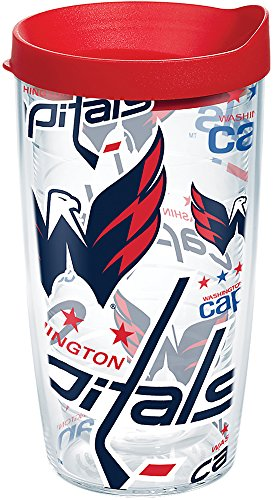 Tervis 1272278 NHL Washington Capitals All Over Tumbler with Wrap and Red Lid 16oz, Clear